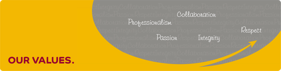 We are committed to our brand values of Passion, Integrity, Collaboration, Professionalism and Respect